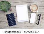modern office desk with mock up ... | Shutterstock . vector #609266114