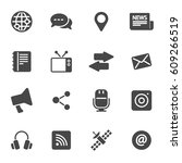 vector black media icons set | Shutterstock .eps vector #609266519