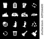 vector white garbage icons set | Shutterstock .eps vector #609266600