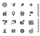 vector black map icons set on... | Shutterstock .eps vector #609266606