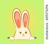 white easter rabbit. easter... | Shutterstock .eps vector #609273296
