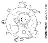 Coloring Book Outlined Rocket...