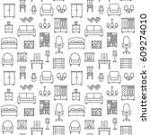 furniture linear icons seamless ... | Shutterstock . vector #609274010