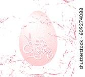 happy easter pink vector poster ... | Shutterstock .eps vector #609274088