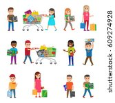smiling children doing shopping ... | Shutterstock .eps vector #609274928