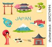 japan touristic concept. set of ...   Shutterstock .eps vector #609274994