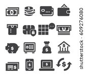 banking icons  black edition  | Shutterstock .eps vector #609276080