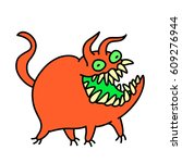 cartoon cute red monster smiles ... | Shutterstock .eps vector #609276944