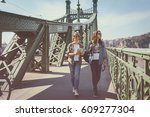 beautiful girls traveling ... | Shutterstock . vector #609277304