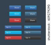 social media icon set. share... | Shutterstock .eps vector #609279290