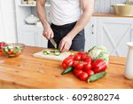 middle aged athlete  cuts... | Shutterstock . vector #609280274
