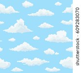cloud vector seamless pattern.... | Shutterstock .eps vector #609283070