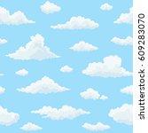 cloud vector seamless pattern.... | Shutterstock .eps vector #609283070