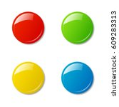 colored magnets isolated on...   Shutterstock .eps vector #609283313