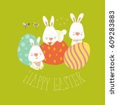easter bunny with colorful egg | Shutterstock .eps vector #609283883