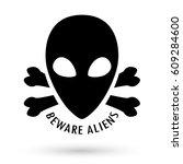 black beware alien with bone... | Shutterstock .eps vector #609284600