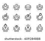 hand concept icons. examples of ... | Shutterstock .eps vector #609284888
