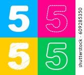 number 5 sign design template... | Shutterstock .eps vector #609285350