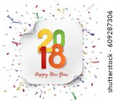 happy new year 2018. colorful... | Shutterstock .eps vector #609287306