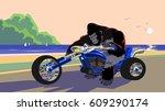 vector  artwork  gorilla on... | Shutterstock .eps vector #609290174