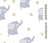 Stock vector cute card with elephant baby 609290300