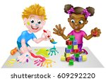 cartoon boy and girl playing... | Shutterstock .eps vector #609292220