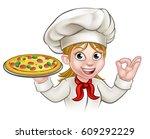 a woman chef cartoon character... | Shutterstock .eps vector #609292229