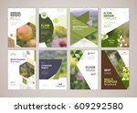 Natural and organic products brochure cover design and flyer layout templates collection. Vector illustrations for marketing material, ads and magazine, natural products presentation templates. | Shutterstock vector #609292580