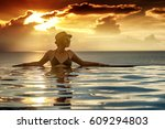 young woman relaxing on the... | Shutterstock . vector #609294803