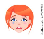 woman crying face with pink... | Shutterstock .eps vector #609294998
