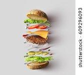 burger ingredients against...   Shutterstock . vector #609296093