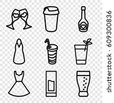 cocktail icons set. set of 9... | Shutterstock .eps vector #609300836