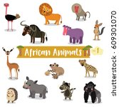 african animals cartoon on... | Shutterstock .eps vector #609301070