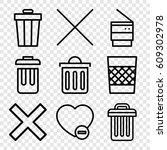 delete icons set. set of 9... | Shutterstock .eps vector #609302978