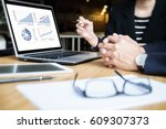 business team meeting working... | Shutterstock . vector #609307373