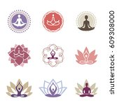 vector yoga icons and line... | Shutterstock .eps vector #609308000