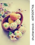 easter holidays background with ... | Shutterstock . vector #609309746