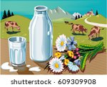 glass and bottle of fresh... | Shutterstock .eps vector #609309908