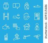 hand icons set. set of 16 hand... | Shutterstock .eps vector #609315686