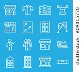front icons set. set of 16... | Shutterstock .eps vector #609315770