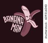 cartoon peeled banana logo... | Shutterstock .eps vector #609316040