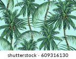 palm trees  tropical leaves ... | Shutterstock .eps vector #609316130