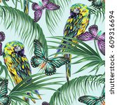 tropical seamless floral... | Shutterstock .eps vector #609316694