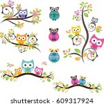 owl cute in vector | Shutterstock .eps vector #609317924