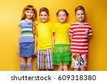 happy joyful children having... | Shutterstock . vector #609318380