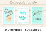 happy easter greeting card set... | Shutterstock .eps vector #609318599