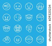 expression icons set. set of 16 ... | Shutterstock .eps vector #609320234