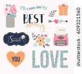 love stickers. signs  symbols ... | Shutterstock .eps vector #609321560