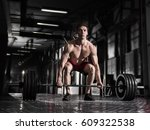 young shirtless athlete doing... | Shutterstock . vector #609322538