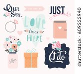 love stickers. signs  symbols ... | Shutterstock .eps vector #609322940